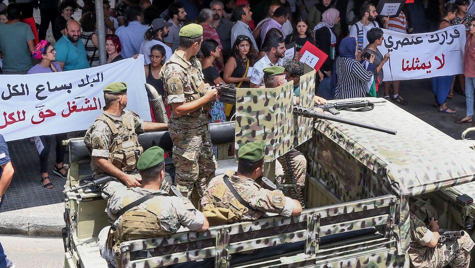 Protest vor dem Arbeitsministerium in Beirut: Kampagne gegen Syrer und Palästinenser