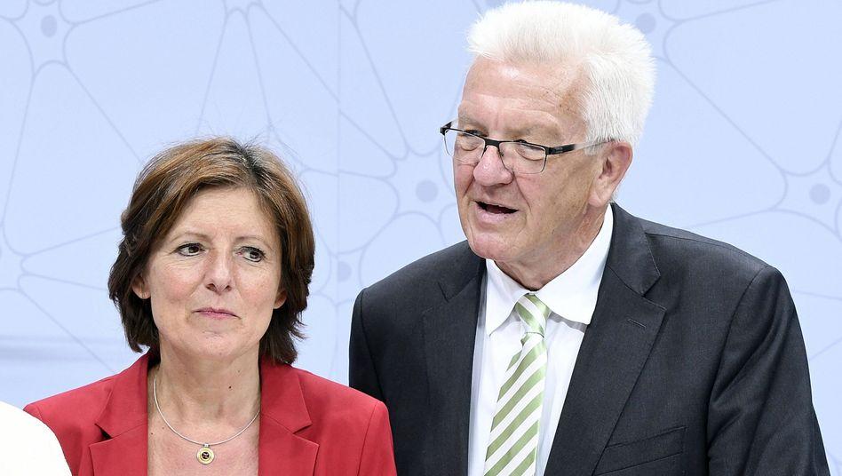 Malu Dreyer, Winfried Kretschmann (im Juni 2017) in Ludwigshafen