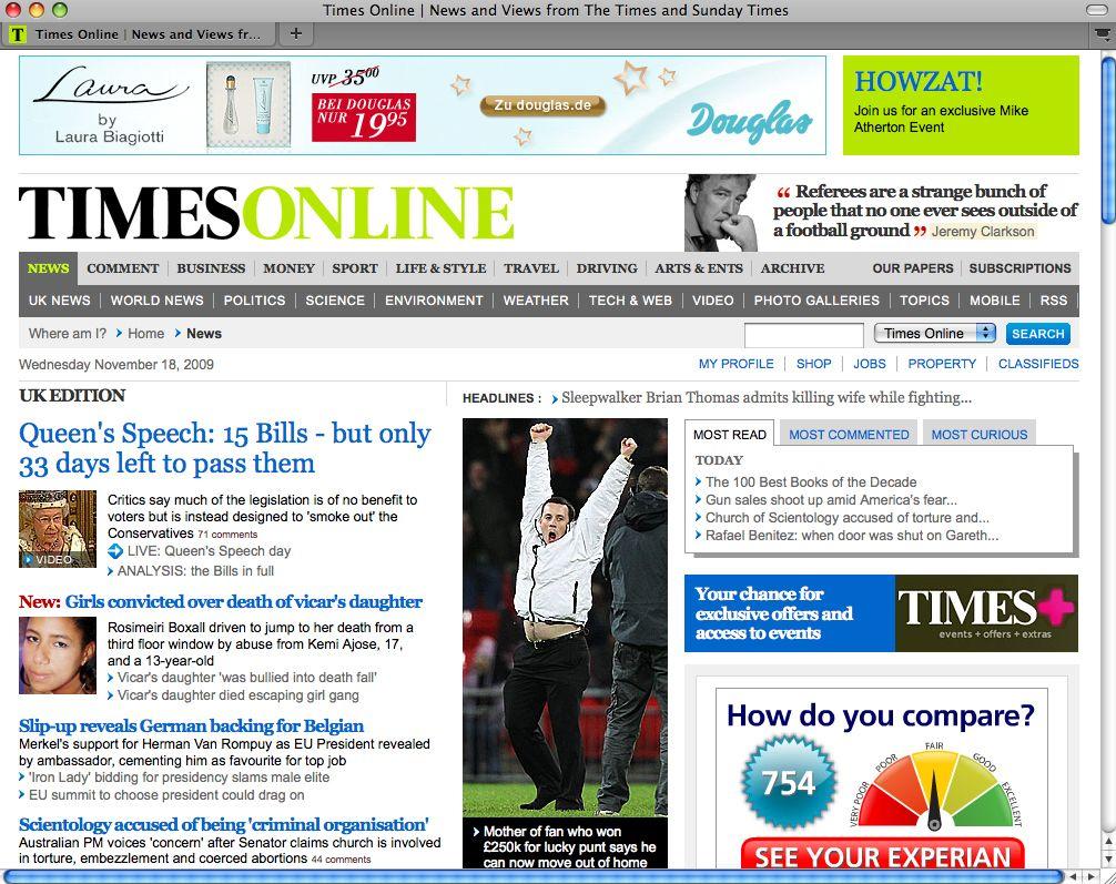 EINMALIGE VERWENDUNG NUR ALS ZITAT SCREENSHOT / Times Online UK