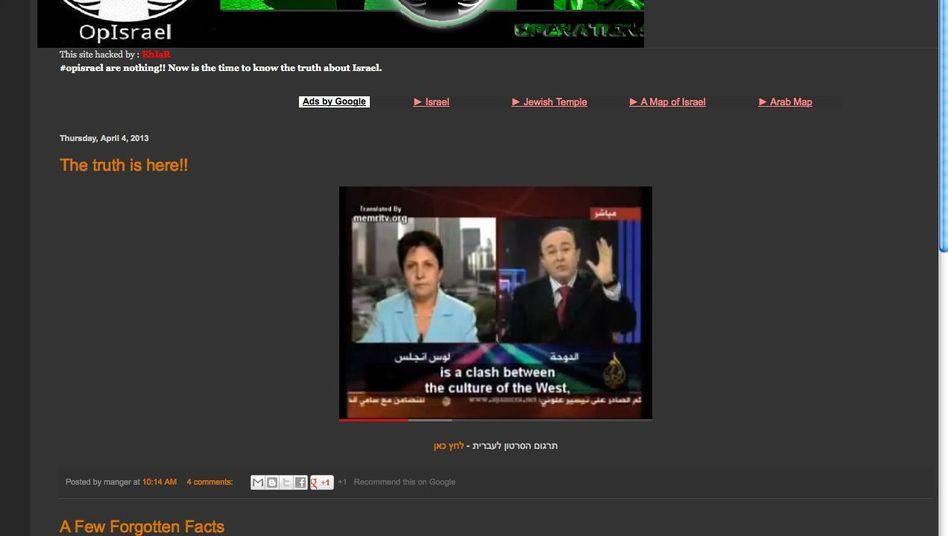 Aktivistenseite OpIsrael: Bedrohliche Ankündigung, geringer Schaden