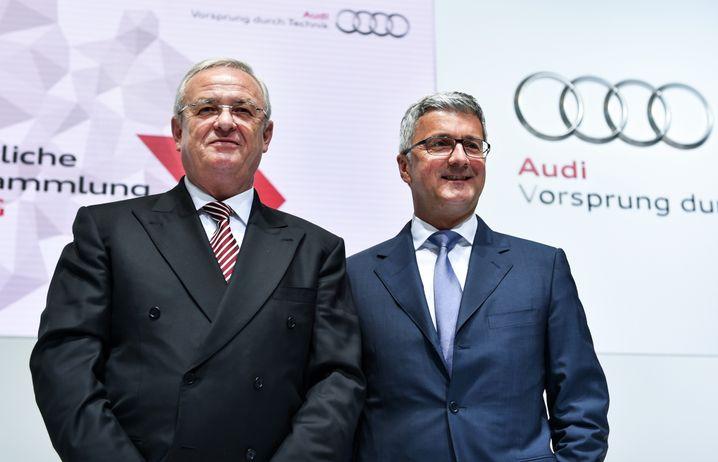 Stadler (rechts) mit Martin Winterkorn im Mai 2015
