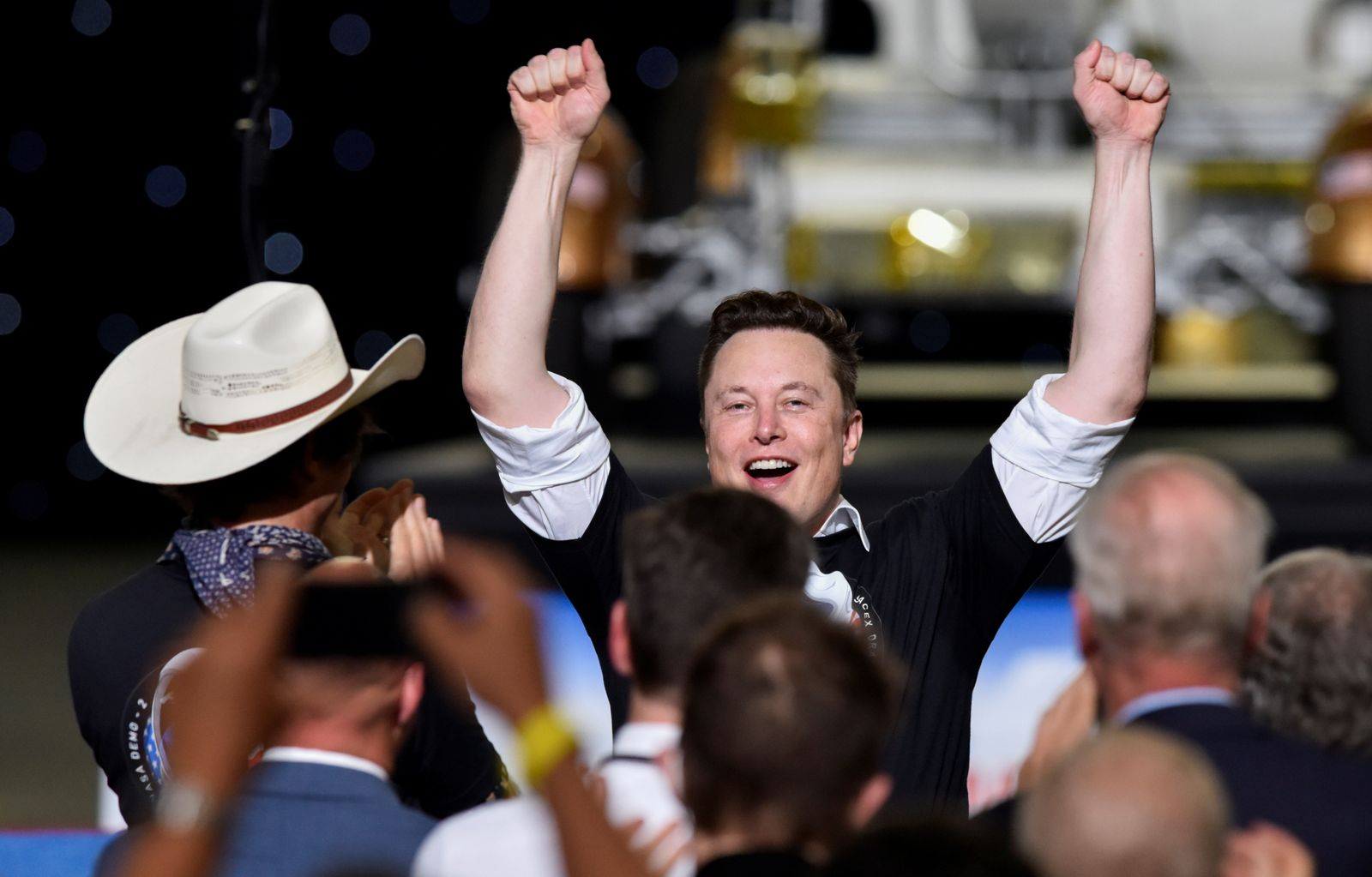 SpaceX CEO Elon Musk celebrates after the launch of a SpaceX Falcon 9 rocket and Crew Dragon spacecraft on NASA's SpaceX Demo-2 mission to the International Space Station from NASA's Kennedy Space Center in Cape Canaveral
