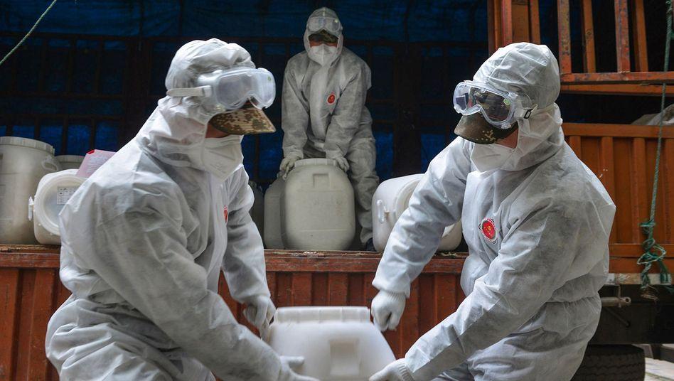 """Chinesische Sicherheitskräfte in Hubei hantieren mit Desinfektionsmittel: """"Die globale Entwicklung legt nahe, dass es zu einer weltweiten Ausbreitung des Virus im Sinne einer Pandemie kommen kann"""""""