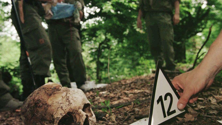 Schädel eines Opfers von Srebrenica