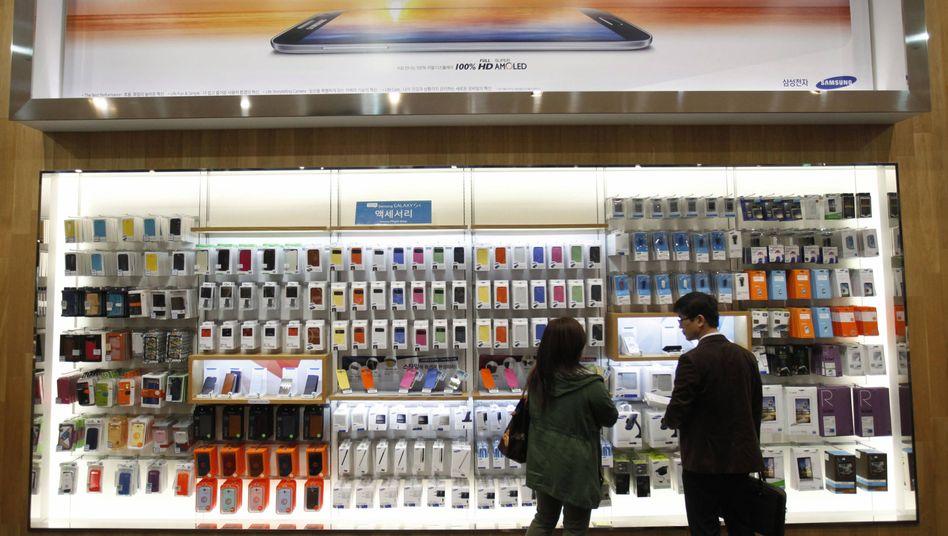 Schaufenster an der Samsung-Zentrale in Seoul: Kritik wegen Arbeitsbedingungen