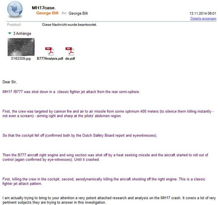 """E-Mail von George Bilt an SPIEGEL ONLINE: """"Von Augenzeugen bestätigt"""""""