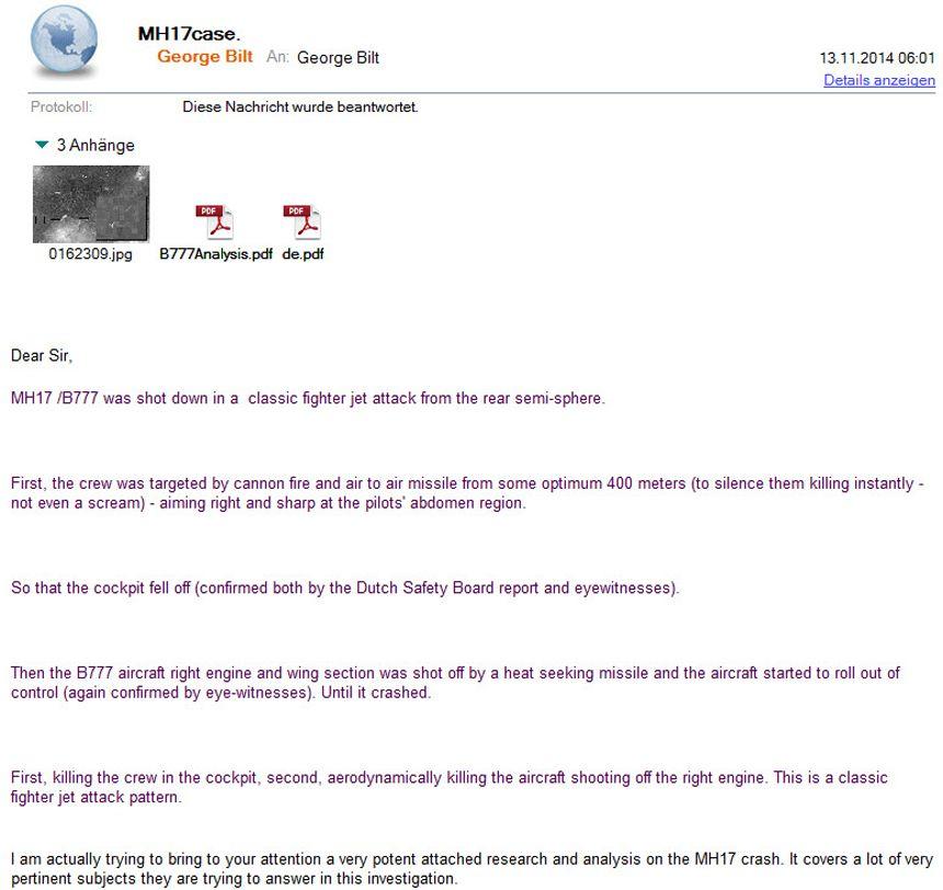 EINMALIGE VERWENDUNG Screenshot/ Email MH 17