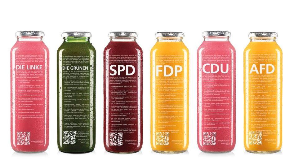 Die umstrittenen Wahlprogramm-Flaschen von »True Fruits«
