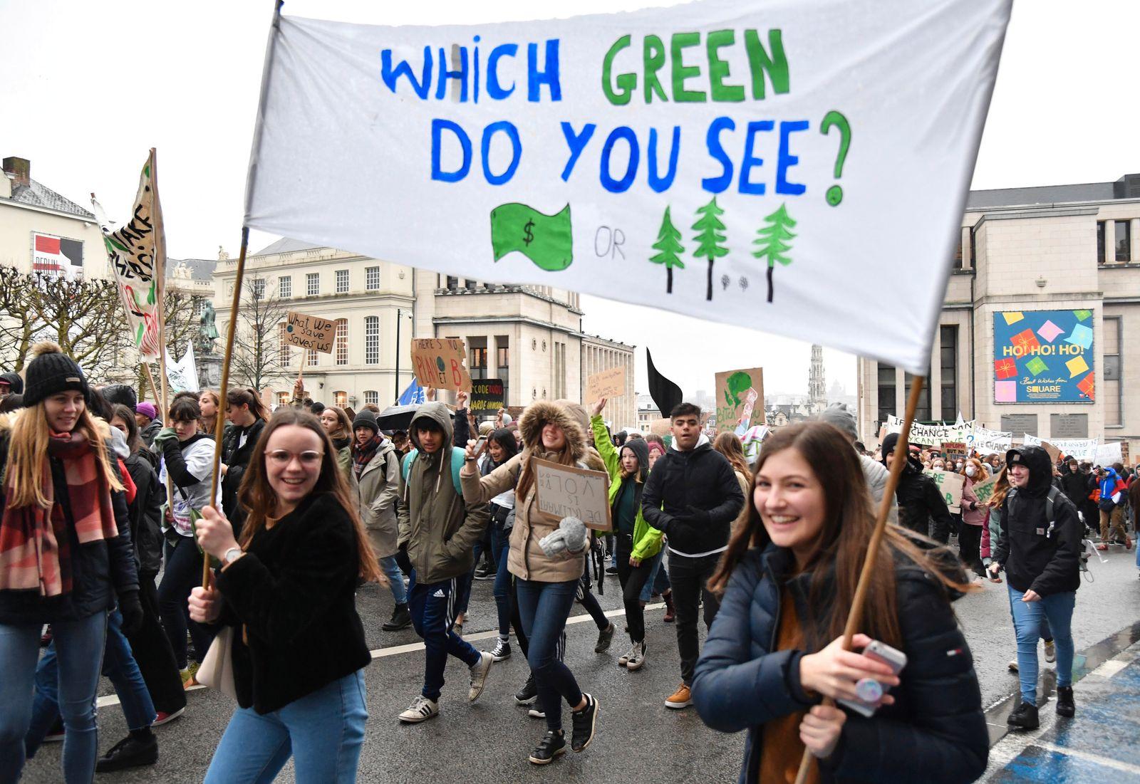 Demonstration für Klimaschutz in Brüssel