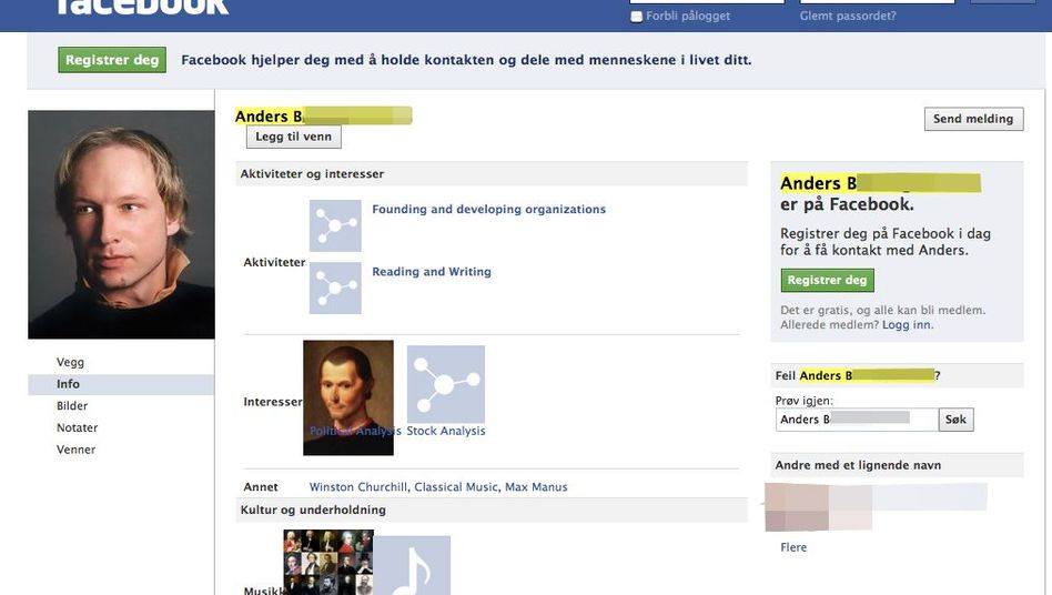 The suspect's Facebook page, which has since been taken offline, is seen in a screenshot.