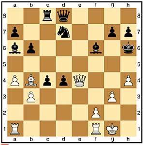 Zug 24, schwarz:..Lf6. Das einzige Rückzugsfeld. Auf e7 würde der Läufer geschlagen.