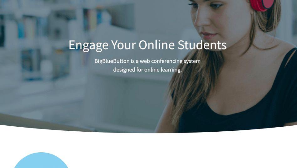 Website von BigBlueButton: Die Software wird für Onlinevideokonferenzen genutzt