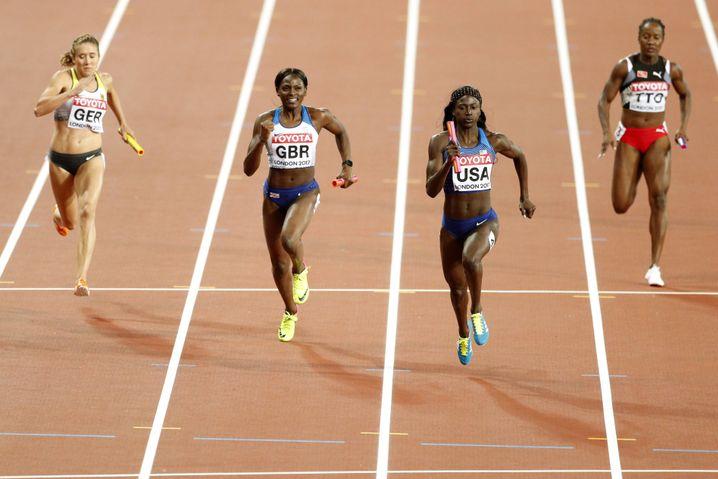 Zieleinlauf der 4x100-Meter-Staffel