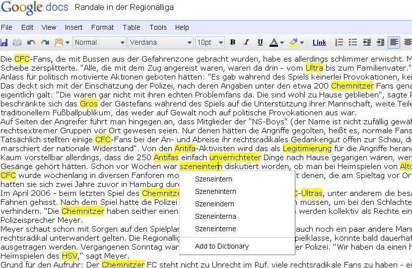 Fehlfunktion / Google Docs / Szenehintern