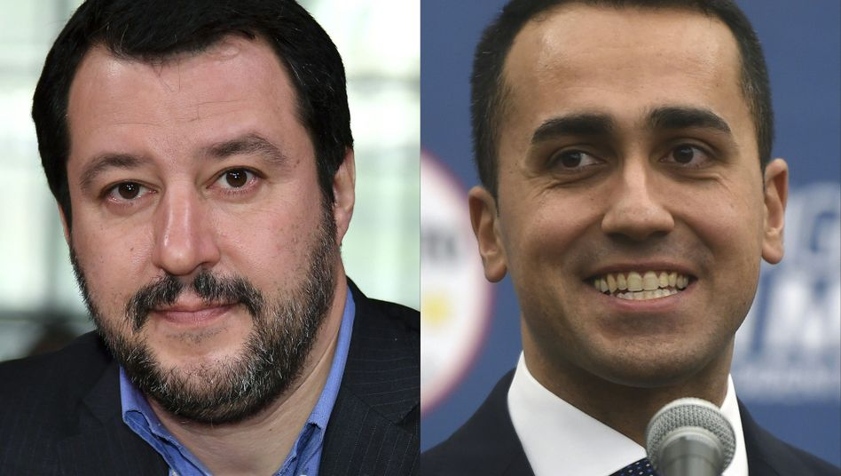 Lega Nord Vorsitzender Matteo Salvini und Luigi Di Maio von der Fünf-Sterne-Bewegung