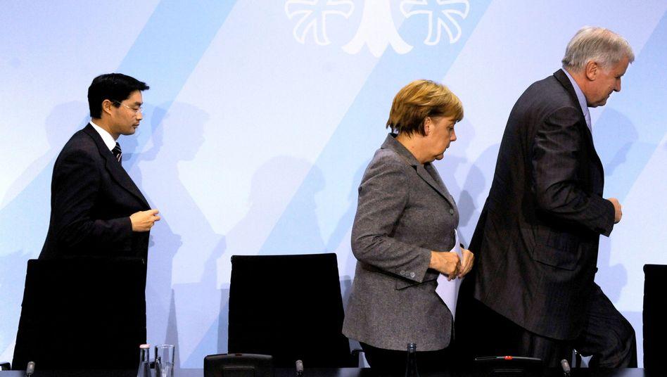 """FDP-Chef Rösler, CDU-Chefin Merkel, CSU-Chef Seehofer: """"Wir brauchen einen Plan B"""""""