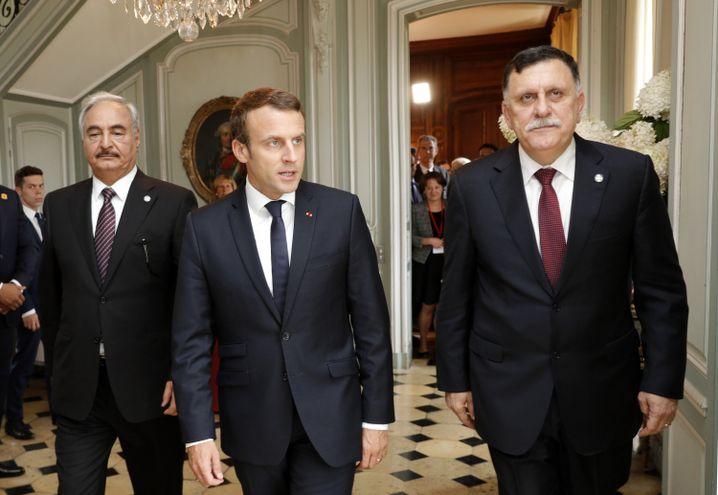 Haftar, Macron und Sarraj im Mai in Paris