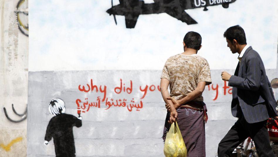 Graffito gegen US-Angriffe: Drohne tötet Menschen in Hochzeitsgesellschaft