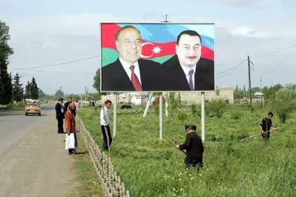 A bilboard in Azerbaijan of Gejdar Aliev and his son Elham Aliev - the current president.