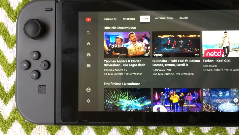 YouTube auf der Switch