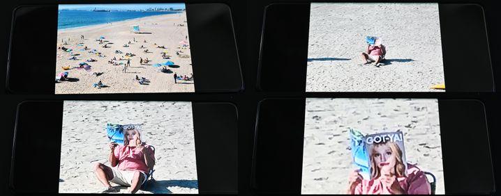 Dasselbe Motiv fotografiert mit eine Galaxy S20 Ultra in verschiedenen Zoomstufen von 1 bis 100fach