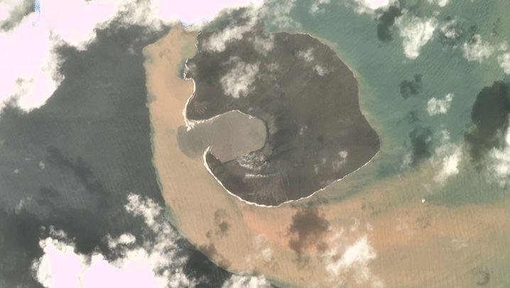 Ein großer Teil des Vulkankegels ist zusammengebrochen.