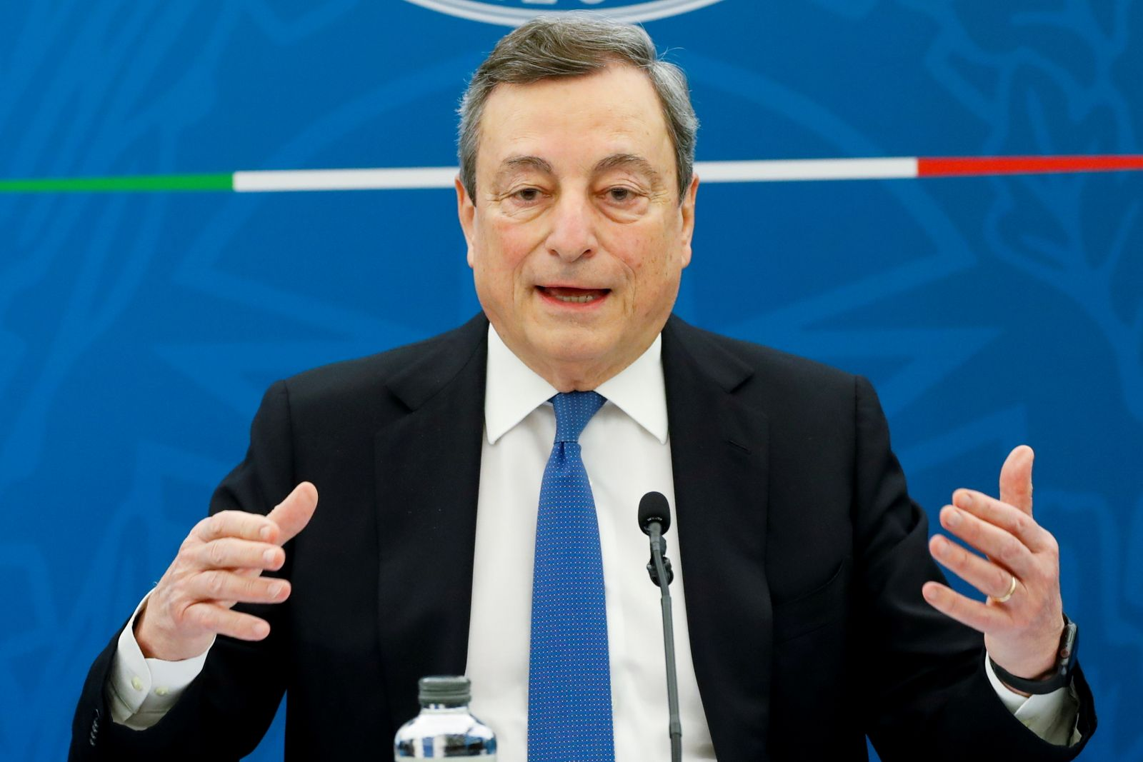FILE PHOTO: Italy's Prime Minister Draghi holds news conference, in Rome