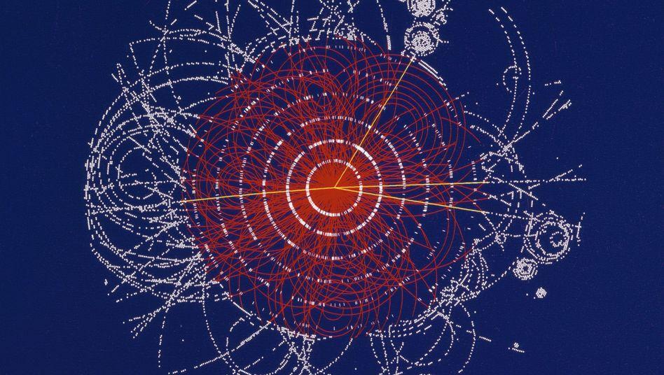 Simulierte Zerfallsreaktion im Teilchenbeschleuniger: Nach schwierigen Messungen versuchen sich die Physiker des Cern nun in Stand-up-Comedy