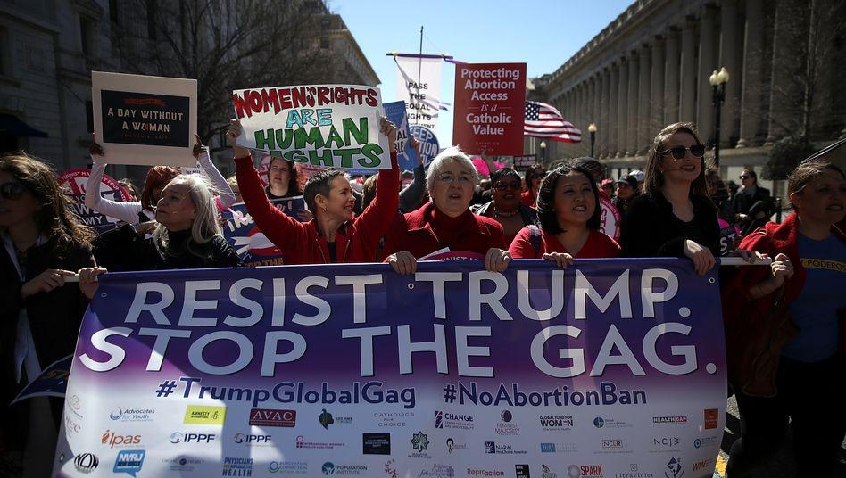 Demonstration der Pro-Choice-Bewegung für ein Ende der Global Gag Rule (in Washington 2017)