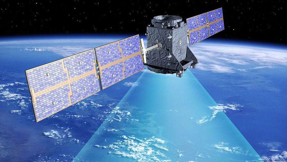 Galileo-Satellit (Simulation): Die Signale von Navigationssatelliten werden in der Atmosphäre abgelenkt