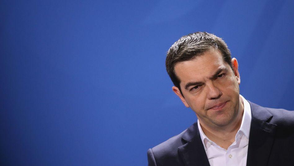 """Premier Tsipras (bei seinem Berlin-Besuch): """"Riskante Strategie"""""""