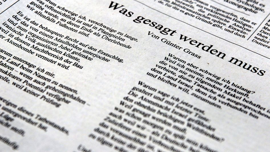 Grass's poem was published in the Wednesday edition of the Süddeutsche Zeitung.