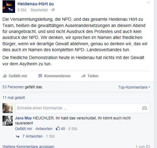 """Screenshot der Facebook-Seite von """"Heidenau-Hört zu"""""""