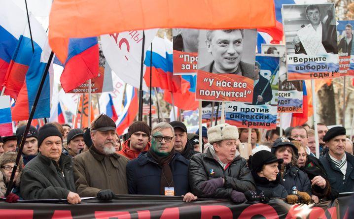 Marsch zum Gedenken an Boris Nemzow, Aufnahme von 2017: Tausende versammeln sich in Moskau