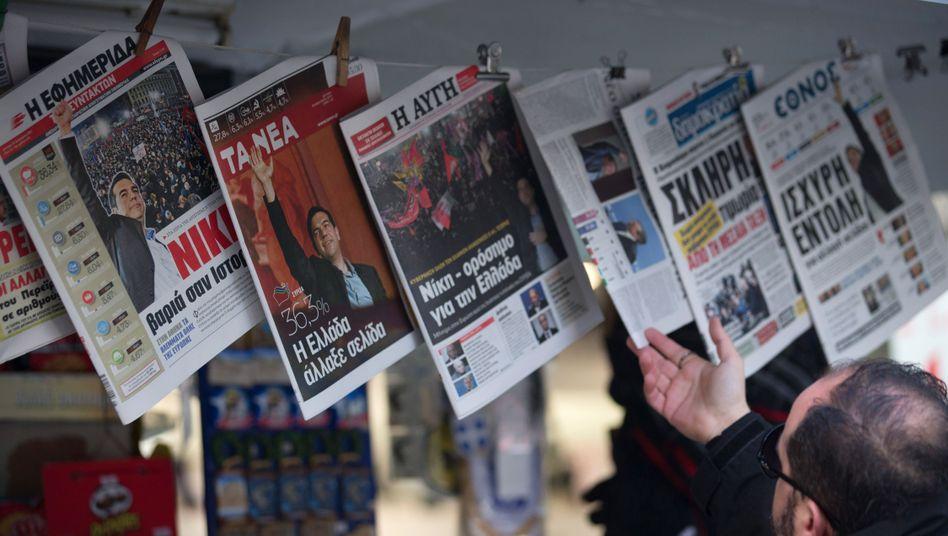 Zeitungskiosk in Athen: Tsipras will seine Wahlversprechen nun umsetzen