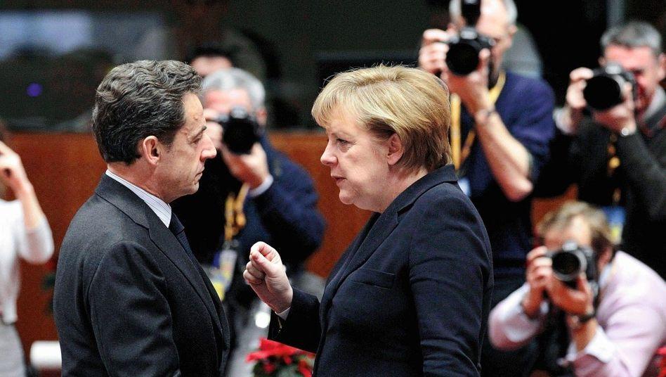 Präsident Nicolas Sarkozy, Kanzlerin Merkel: »Falsche Baustelle«