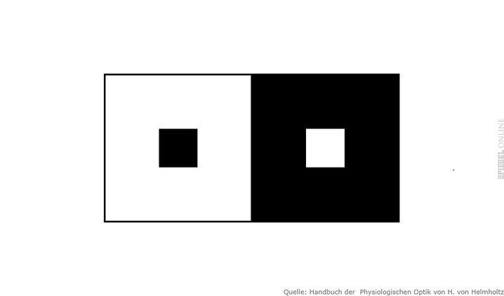 Dunkel auf Hell übertragen unsere Nervenbahnen realistisch, andersherum übertreiben sie. Deshalb wirkt das helle Quadrat größer, obwohl beide gleich groß sind.