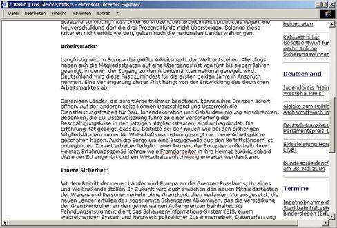 """Sceenshot Homepage von Gleicke: """"Kehren viele Fremdarbeiter in ihre Heimat zurück"""""""