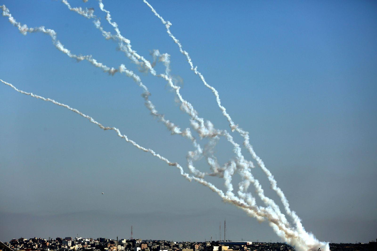 May 19, 2021, Gaza, Gaza Strip, Palestinian Territory: Rockets are launched from Gaza City, towards Israel on May 19, 2