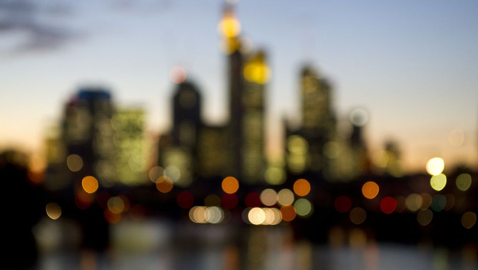 The Frankfurt skyline: Many have accused the German government of watering down the euro zone's new banking union.