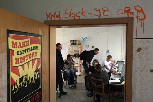 The anti-G-8 press office. The groups are headquartered in a disused school in Rostock.