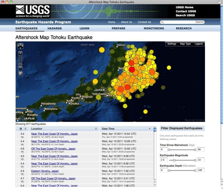 SCREENSHOT USGS Erdbeben / Japan