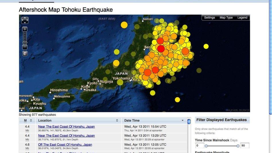 Nachbeben vor Japan: Jeder Kreis zeigt ein Beben - je röter, desto heftiger der Schlag
