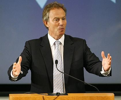 Prime Minister Tony Blair spoke to a crowd at the UCLA Korn Convocation Hall.