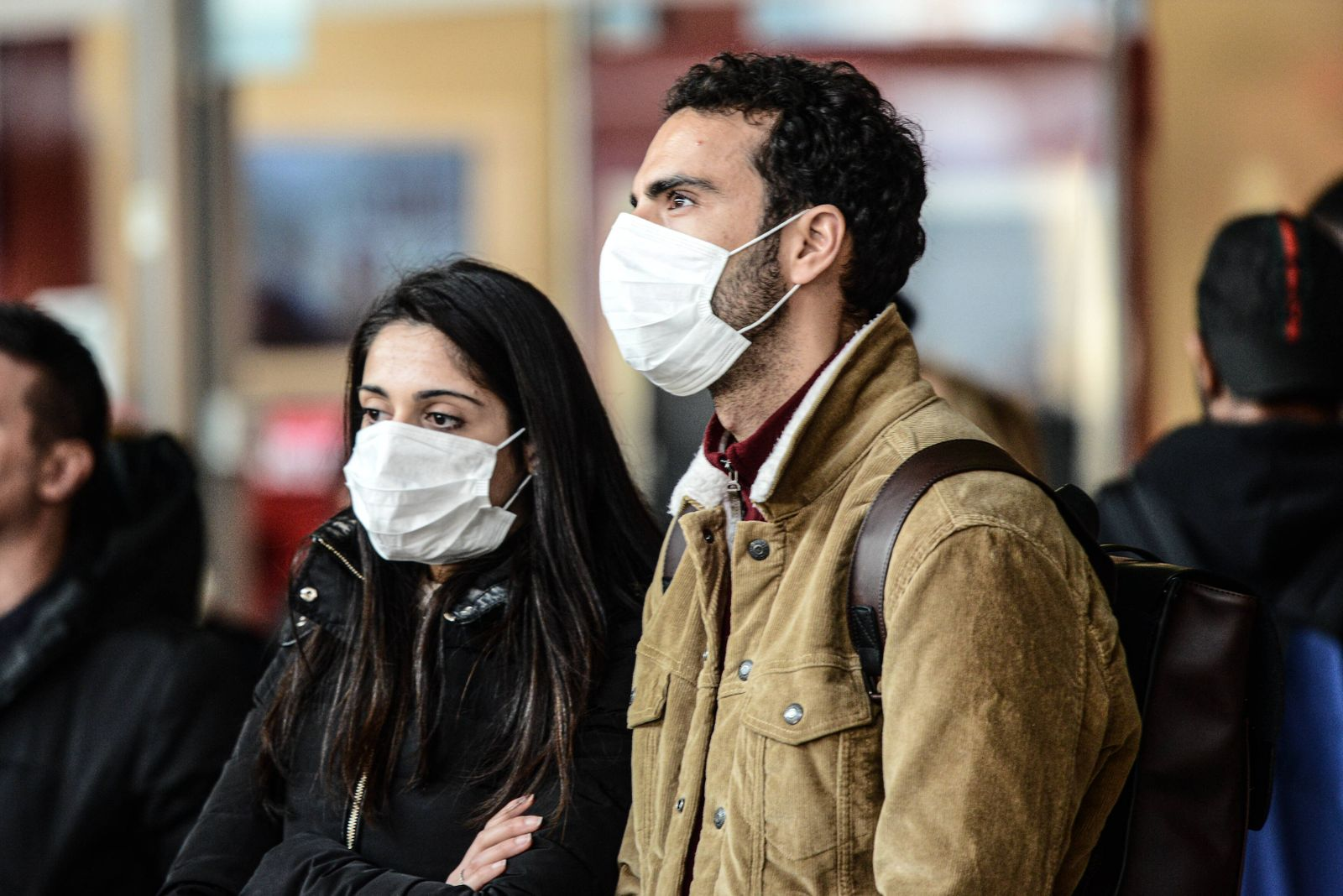 Italy: Psychosis Coronavirus in Turin Psychosis Coronavirus in Turin, a man wears a health mask in Turin, Piazza Castel