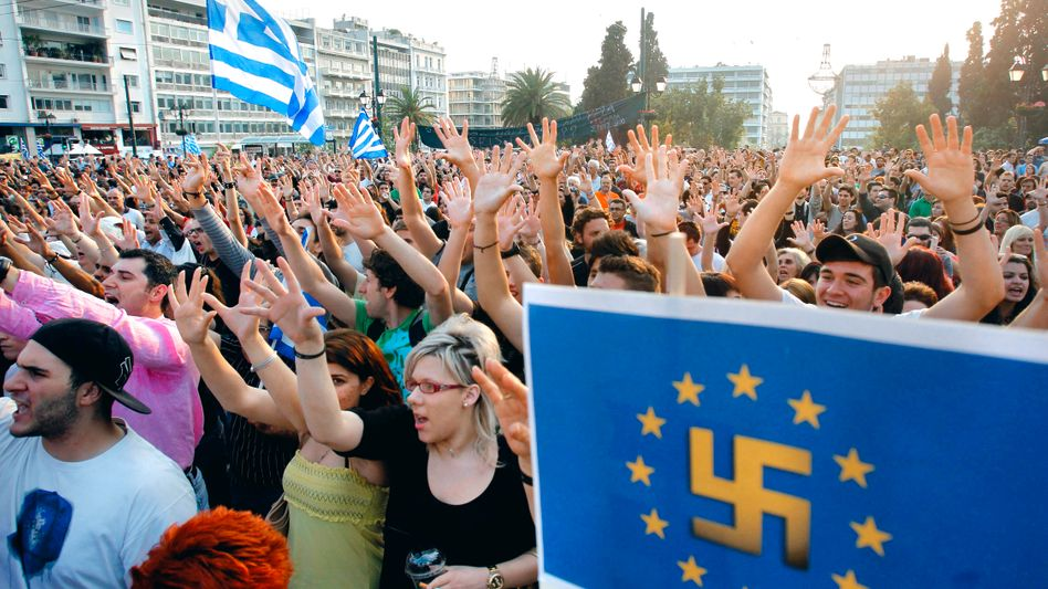 Protestors in Athens demonstrating against austerity measures.