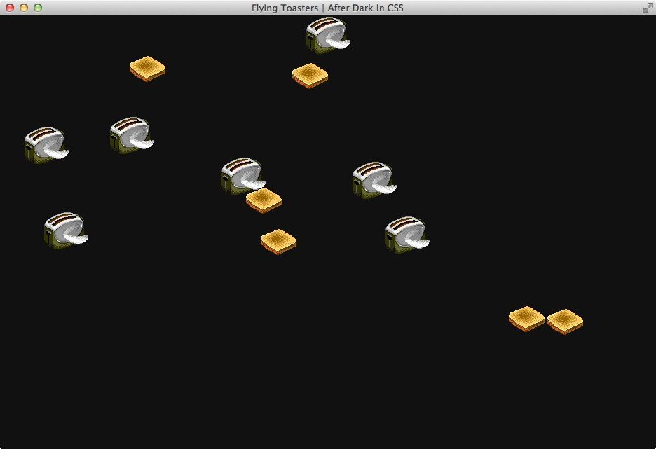 NUR ALS ZITAT Screenshot Flying Toasters bei Github