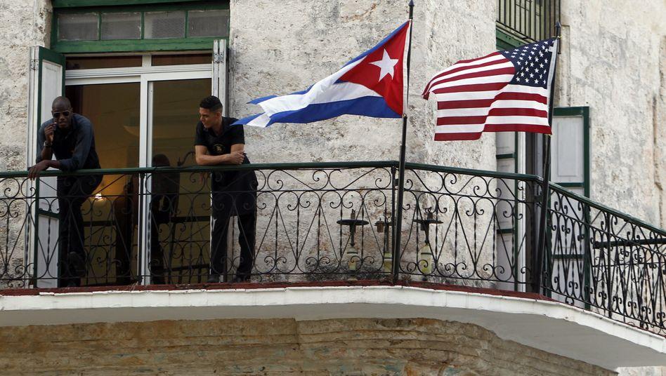 Flaggendekoration in der kubanischen Hauptstadt Havanna vor dem Besuch von US-Präsident Barack Obama (März 2016)