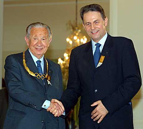 Jacques Rogge (r.) und Juan Antonio Samaranch: Der neue Herrscher des Olymps und sein Vorgänger