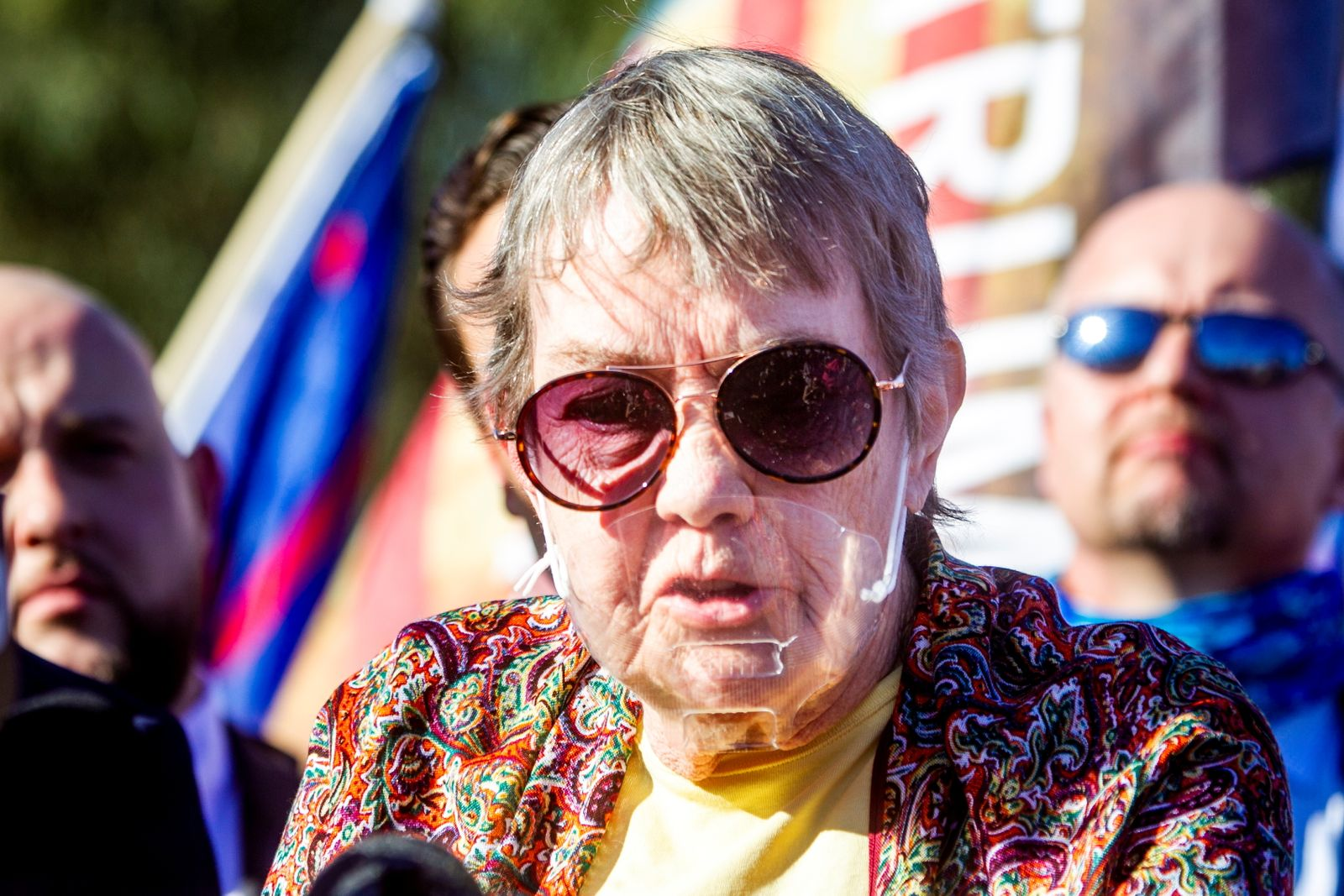 Jill Stokke, who says she was denied her vote, speaks during a Trump campaign press conference outside the Clark County Election Center in North Las Vegas